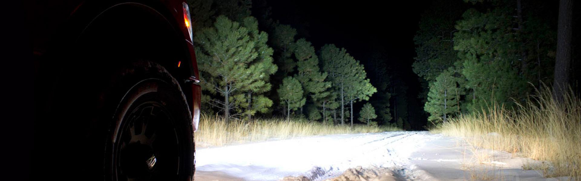 LED lámpa - offroad erdőben
